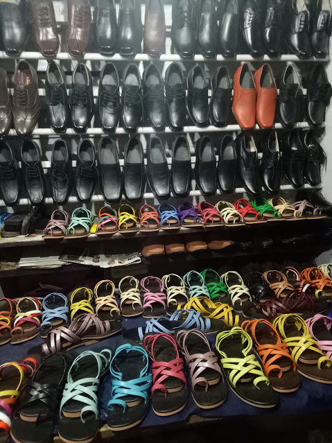 Shoes collection at store