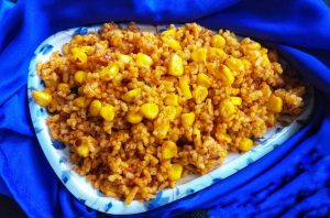 Spicy Corn Lal bhaat